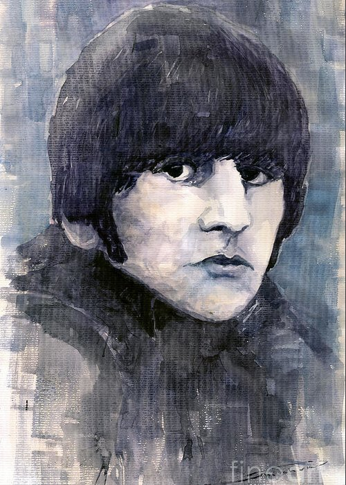 Watercolor Greeting Card featuring the painting The Beatles Ringo Starr by Yuriy Shevchuk