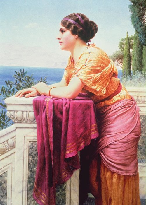 The Belvedere By John William Godward (1861-1922) Neoclassical; Victorian; Gazing; Sea; Dreaming; View; Lean Greeting Card featuring the painting The Belvedere by John William Godward