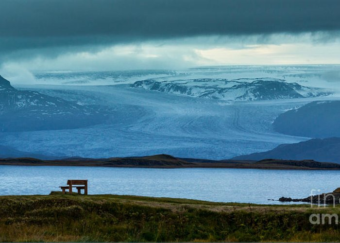 Iceland Greeting Card featuring the photograph The Bench And The Glacier by Levin Rodriguez