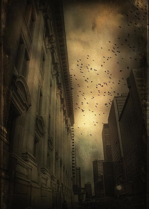 Urban Greeting Card featuring the photograph The Birds by Peter Labrosse