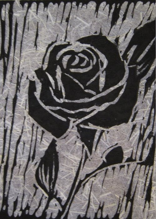 Black Rose Greeting Card featuring the relief The Black Rose by Marita McVeigh