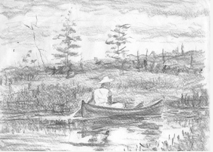 Canoe Greeting Card featuring the drawing The Blue Canoe by Horacio Prada