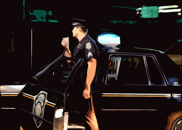 Police Greeting Card featuring the photograph The Blue Line by Robert Ponzoni