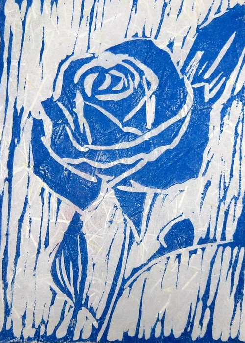 Blue Rose Greeting Card featuring the relief The Blue Rose by Marita McVeigh