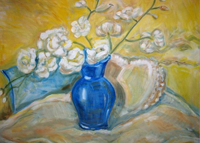 Flowers With Vase And Pillows Greeting Card featuring the painting The Blue Vase by Joseph Sandora Jr