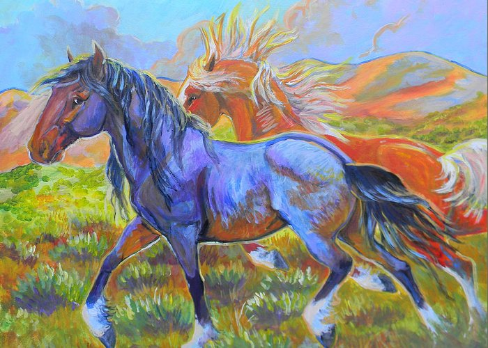 Horse Greeting Card featuring the painting The Boys by Jenn Cunningham