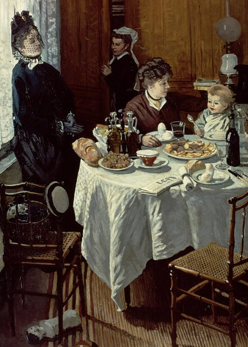 Interior;family;baby;impressionist;maid;feeding;meal;eating;food;daily Life;petit Dejeuner;table;boiled Eggs Greeting Card featuring the painting The Breakfast by Claude Monet