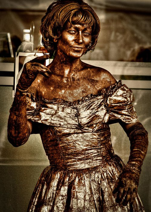 Pike Place Market Greeting Card featuring the photograph The Bronze Lady In Pike Place Market by David Patterson