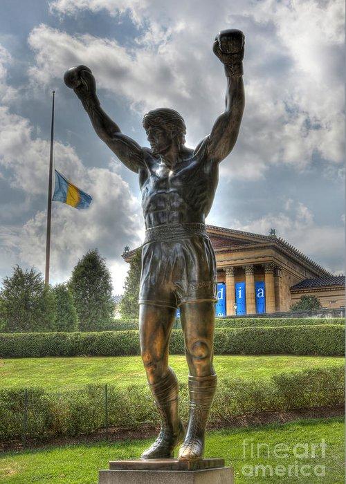 Arena Greeting Card featuring the photograph The Bronze Stallion - Rocky Balboa - Philadelphia - Pennsylvania - Rocky Steps by Lee Dos Santos