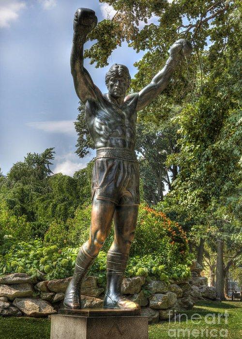 Arena Greeting Card featuring the photograph The Bronze Stallion II - Rocky Balboa - Philadelphia - Pennsylvania - Rocky Steps by Lee Dos Santos