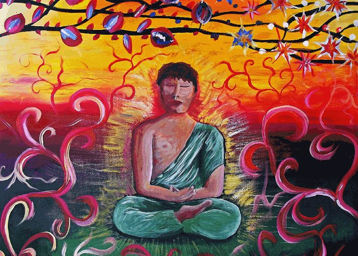 Acrylic Greeting Card featuring the painting The Buddha Intense by Mac Mood