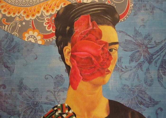 Collage Greeting Card featuring the mixed media The Cancerous Rose by Kanchan Mahon