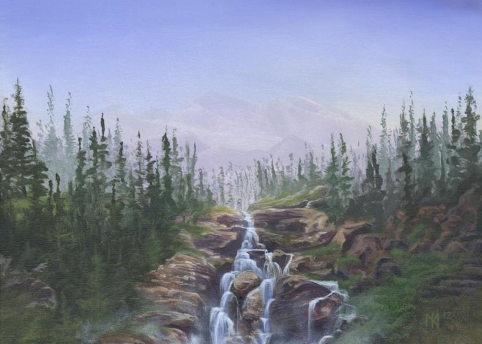 Landscape Greeting Card featuring the painting The Canoeist Concern by Kent Nicklin