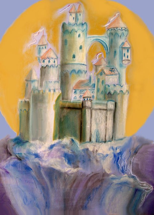 Castle Greeting Card featuring the pastel The Castle by Ginna Viveros