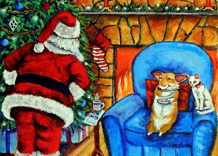 Pembroke Welsh Corgi Greeting Card featuring the painting The Cat Ate Them Pembroke Welsh Corgi by Lyn Cook