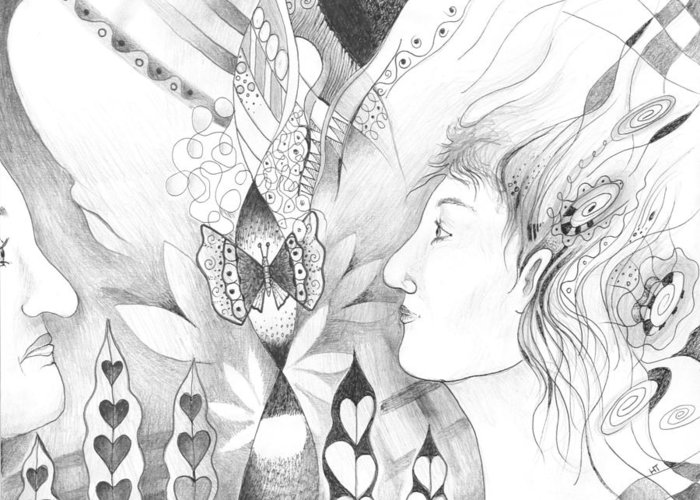 Figurative Greeting Card featuring the drawing The Change And The Changing by Helena Tiainen