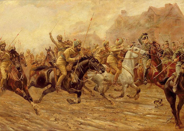 The Charge Of The Bengal Lancers At Neuve Chapelle Greeting Cards
