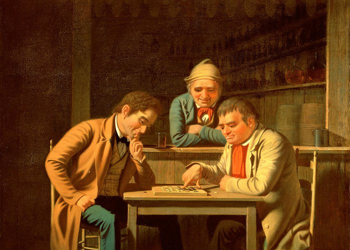 The Greeting Card featuring the painting The Checker Players by George Caleb Bingham