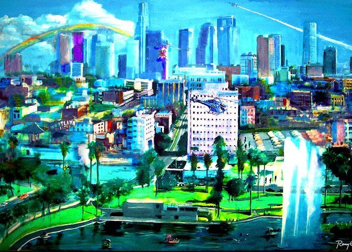 Los Angeles Greeting Card featuring the painting The City Of Angels by Romy Galicia