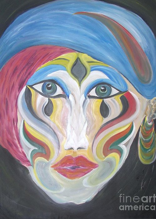 Abstracts Greeting Card featuring the painting The Clown Within Me by Rachel Carmichael