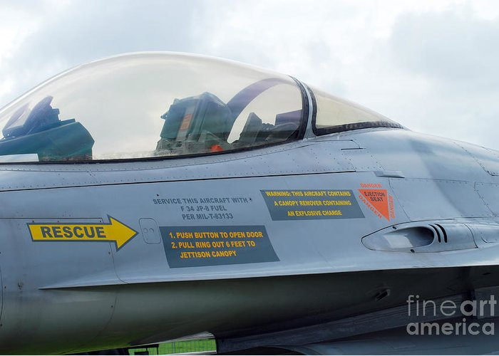 Air Component Greeting Card featuring the photograph The Cockpit Of An F-16 Fighting Falcon by Luc De Jaeger