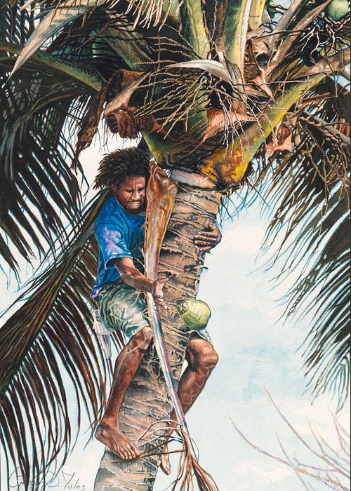Tree Greeting Card featuring the painting The Coconut Tree by Gregory Jules