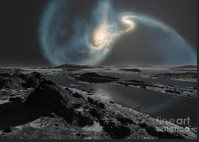Interstellar Greeting Card featuring the digital art The Collision Of The Milky Way by Ron Miller