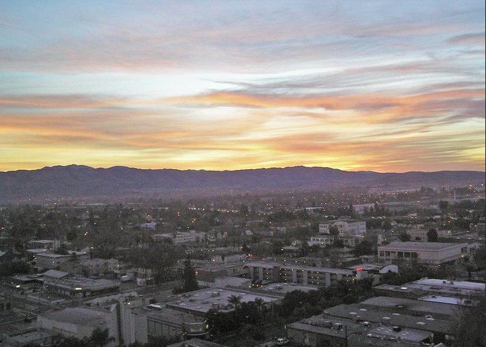 San Jose Greeting Card featuring the photograph The Colors Of The Sky Over San Jose At Sunset by Ashish Agarwal