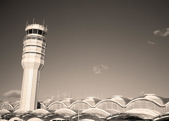 Airport Greeting Card featuring the photograph The Control Tower And by Stephen Alvarez