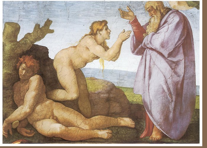 Michelangelo Buonarroti Greeting Card featuring the painting The Creation Of Eve by Michelangelo Buonarroti