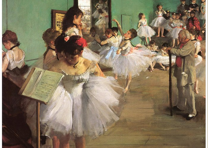 The Dance Class Greeting Card featuring the painting The Dance Class by Edgar Degas
