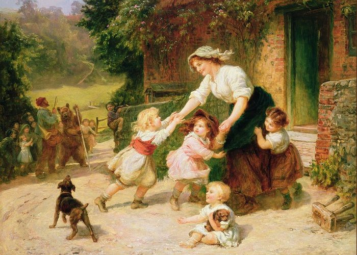 Quaint Greeting Card featuring the painting The Dancing Bear by Frederick Morgan