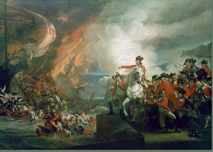 The Defeat Of The Floating Batteries At Gibraltar Greeting Card featuring the painting The Defeat Of The Floating Batteries At Gibraltar by John Singleton Copley
