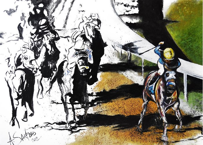 Line If David Greeting Card featuring the painting The Derby by Amanda Sanford