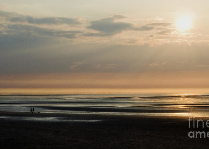 Sunset Greeting Card featuring the photograph The Dog Walkers by Wayne Molyneux