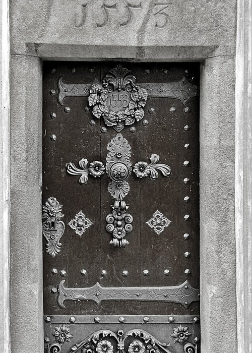 Door Greeting Card featuring the photograph The Door - Ceske Budejovice by Christine Till