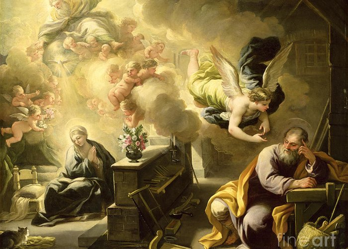 Saint Greeting Card featuring the painting The Dream Of Saint Joseph by Luca Giordano