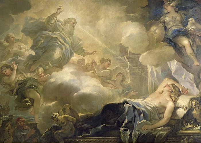 The Dream Of Solomon Greeting Card featuring the painting The Dream Of Solomon by Luca Giordano
