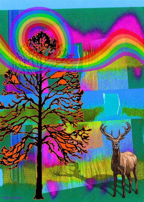 Landscape Greeting Card featuring the digital art The Earth Rejoices Series Deer And Basswood by Robin Jensen