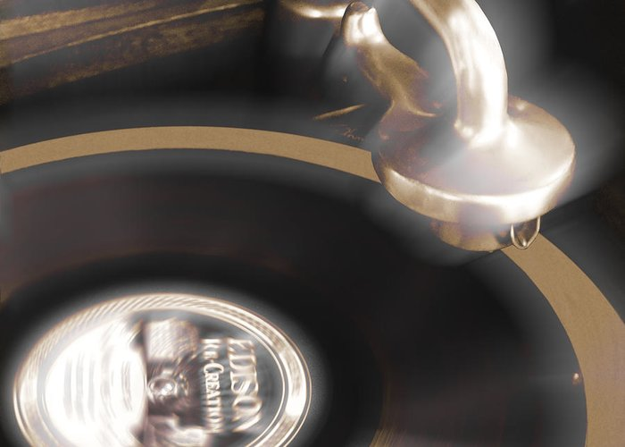 Record Player Greeting Card featuring the photograph The Edison Record Player by Mike McGlothlen