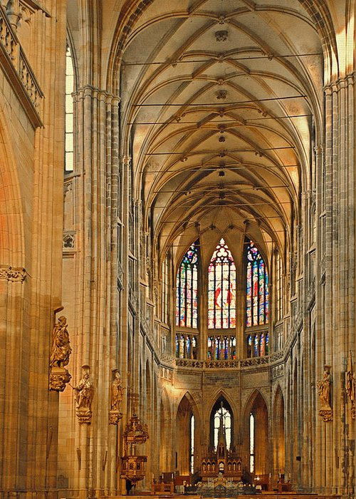 Vitus Greeting Card featuring the photograph The Enormous Interior Of St. Vitus Cathedral Prague by Christine Till