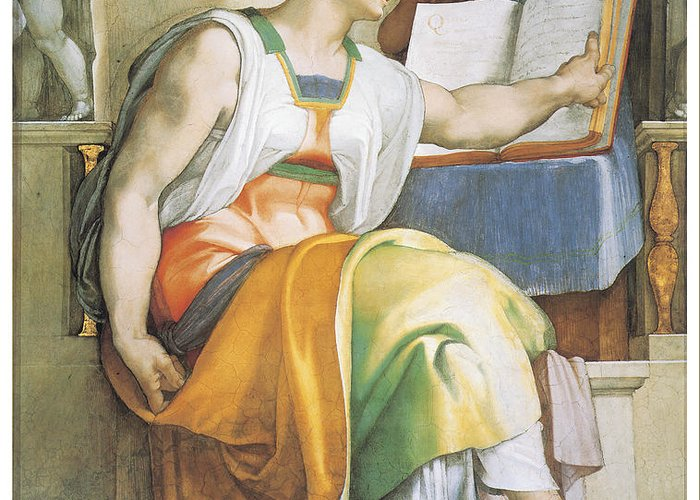 Michelangelo Buonarroti Greeting Card featuring the painting The Erythraean Sibyl by Michelangelo Buonarroti