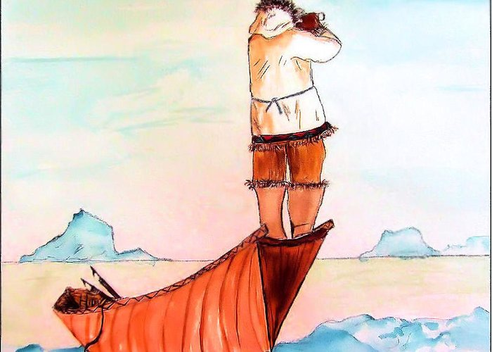 Eskimo Greeting Card featuring the painting The Eskimo Hunter by Alethea McKee