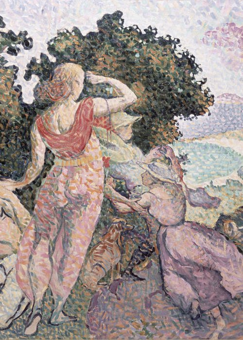 The Excursionists Greeting Card featuring the painting The Excursionists by Henri-Edmond Cross