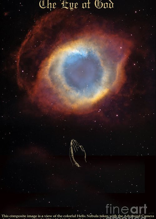 Eye Of God And Praying Hands Greeting Card featuring the digital art The Eye Of God And Praying Hands by Heinz G Mielke