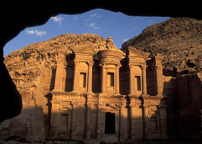 Petra Greeting Card featuring the photograph The Facade Of The by Richard Nowitz