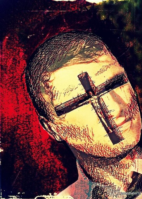 Restlessness Of The Soul Greeting Card featuring the digital art The Face Is Sowing Fertile Shadow Of The Cross by Paulo Zerbato