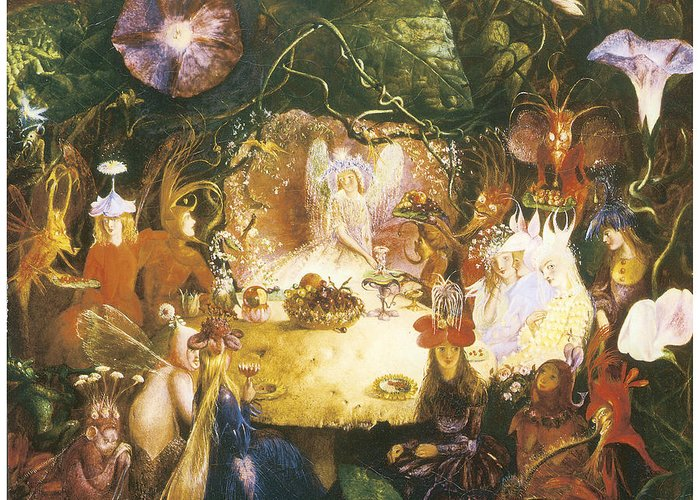 John Anster Fitzgerald Greeting Card featuring the painting The Fairies Banquet by John Anster Fitzgerald