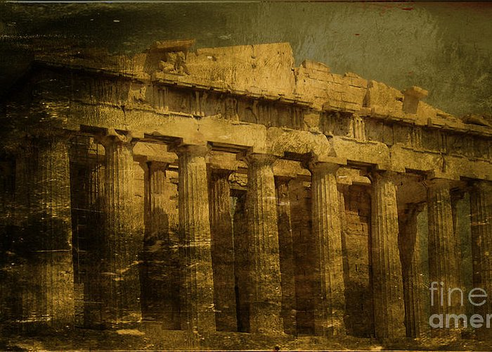 Acropolis Of Athens Greeting Card featuring the photograph The Fall Of Athens by Lee Dos Santos