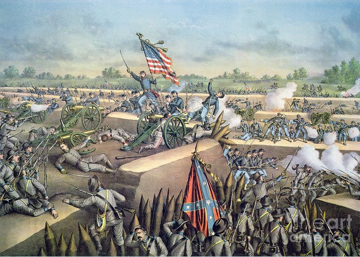 U S; Army; Federal; Confederate; Forces; Troops; Gunfire; Cannons; Battlefield; Battle Greeting Card featuring the painting The Fall Of Petersburg To The Union Army 2nd April 1965 by American School